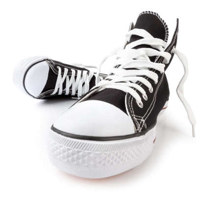 Hi-Top Black Sneakers on white shot with wide angle lens. This file is cleaned, retouched and contains clipping path. Banque d'images