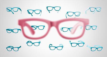Eyeglasses concept on gray background.