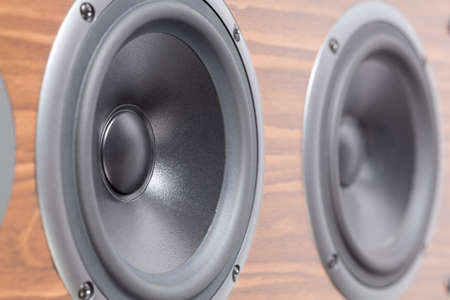 Close up of low tone speaker. This file is cleaned and retouched.