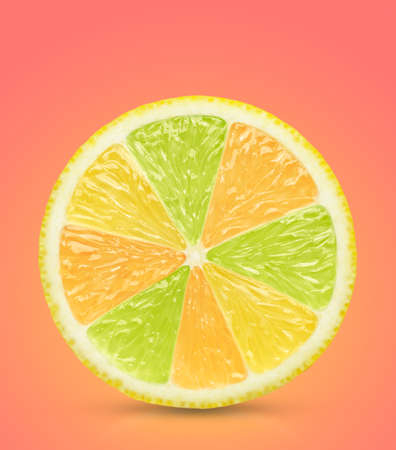 Concept orange lemon slice on pink. This file is cleaned, retouched and contains clipping path.