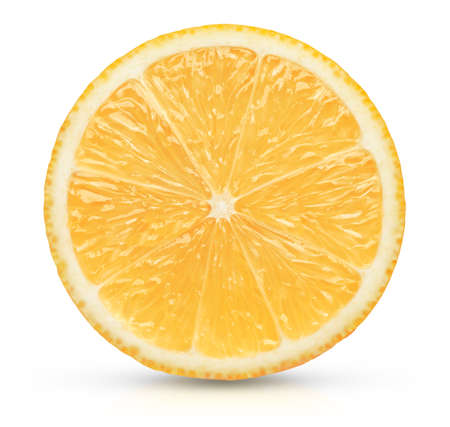 Perfect orange lemon slice on white. This file is cleaned, retouched and contains clipping path.