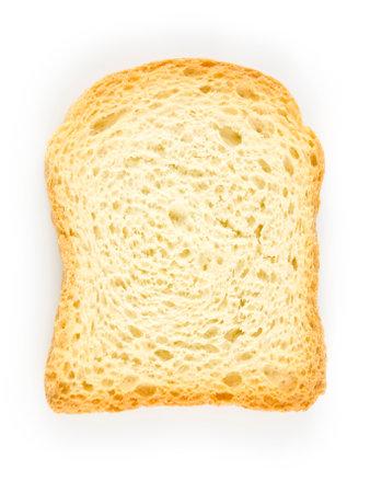 one slice of wholemeal toast isolated on the white background