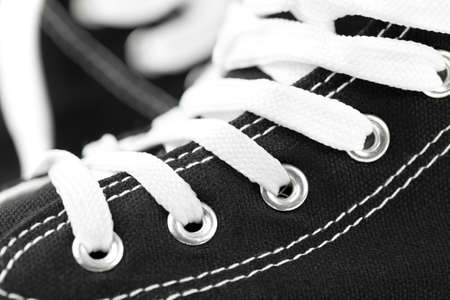 Close up of Hi-Top Black Sneakers. This file is cleaned and retouched. Banque d'images