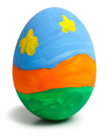 Close up colorful easter egg  white background. This file is cleaned, retouched and contains  . 版權商用圖片