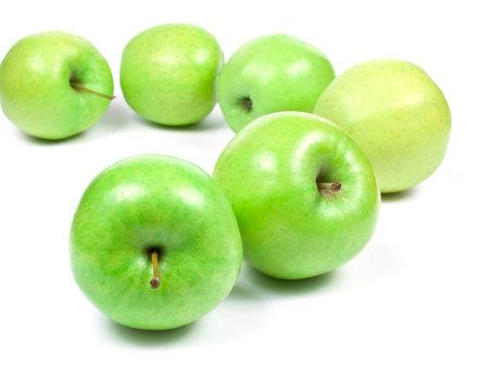 shot of fresh green apples on white background 版權商用圖片