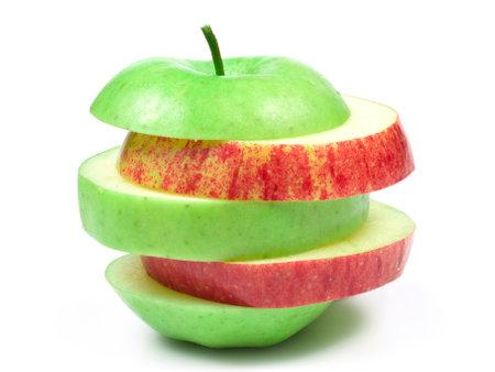 sliced fresh red-green apple on white background 版權商用圖片