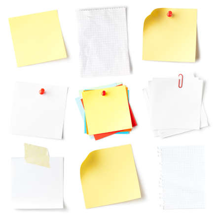 Collection of blank note on white. This file is cleaned, retouched and contains  paths.