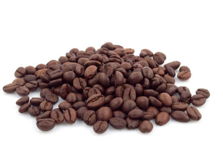 stack of coffee beans on the white background