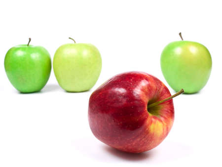 fresh green and red apples on white background