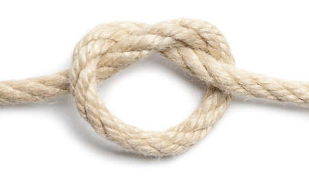 Close up of rope knot  white background. This file is cleaned, retouched and contains  .