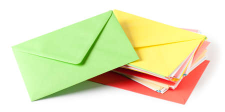 Colorful envelopes  white. This file is cleaned, retouched and contains  . 版權商用圖片