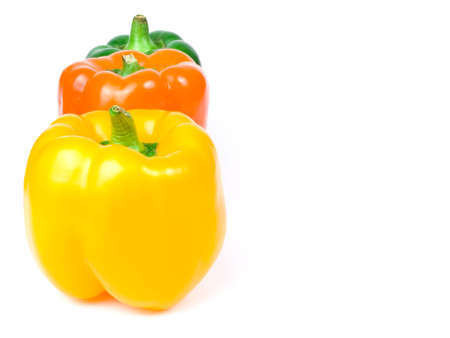 group of colorful paprika on white background
