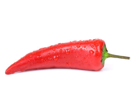 shot of red shiny paprika on white background