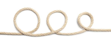 Close up of rope  white background. This file is cleaned, retouched and contains  .
