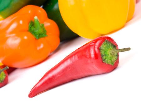 close up of red paprika on white background 版權商用圖片