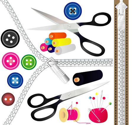 Sewing tools - illustration! Stock Photo