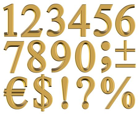 3D Gold Numbers - isolated
