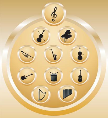 pictogrammes musique: Musique ic�nes - illustration vectorielle!  Illustration