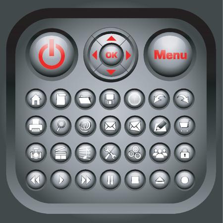interface menu tool: Black Glossy Icons - VECTOR!
