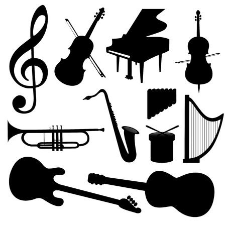 music instrument: Music Instruments silhouette - Vector