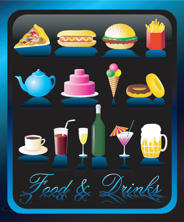 Food and Drinks Icons - VECTOR! Stock Vector - 590582