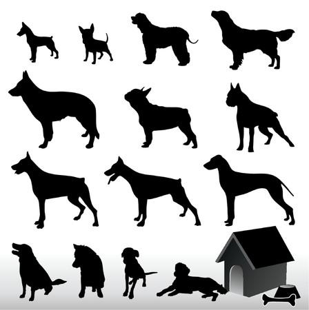 dog silhouette: Dog Silhouettes - Vector. Easy Editable.