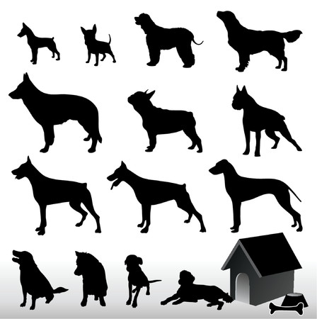 Dog Silhouettes - Vector. Easy Editable.