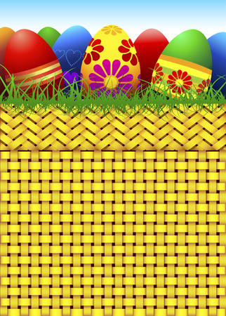 Vector basket full of Easter eggs Stock Vector - 771365