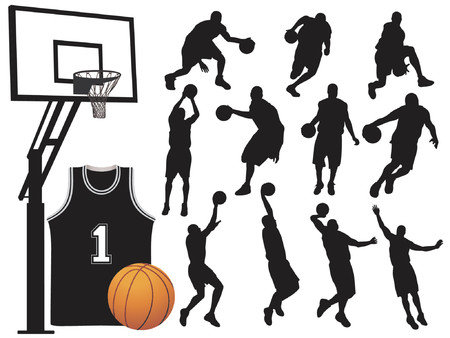 Basketball Player Silhouettes - Vector