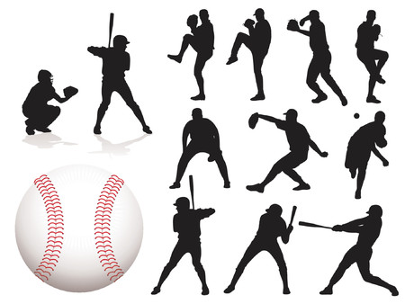 baseballs: Baseball Player Silhouettes - Vector. (Check out my portfolio for other silhouettes)