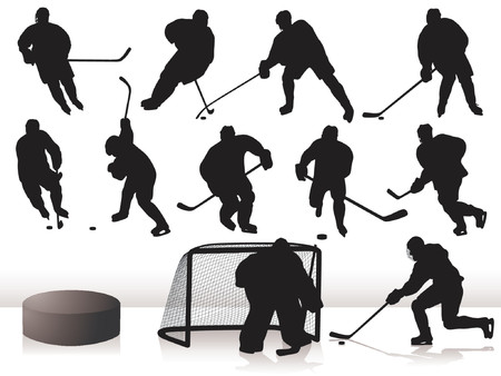 Vector Hockey Players - Silhouettes Illustration
