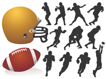 scramble: American Football Silhouettes - Vector