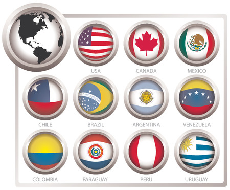 Vector flags of states from continent of America Vector