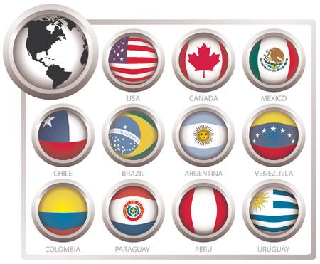 mapa de venezuela: Vector las banderas de estados del continente de Am�rica
