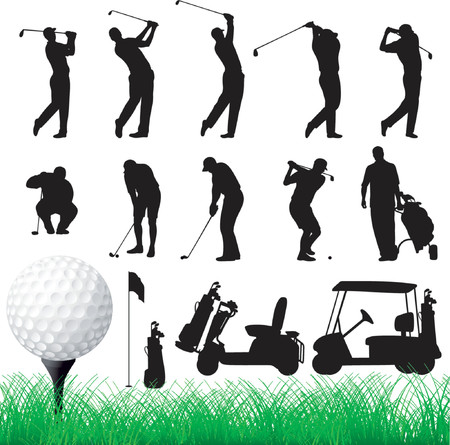 Vector Golfer Silhouettes - Eps8 Vector