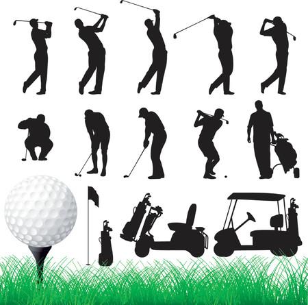 caddie: Vector Golfer Silhouettes - Eps8