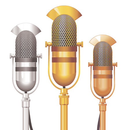 Vector set of gold, silver and bronze Retro Microphones. No transparency.