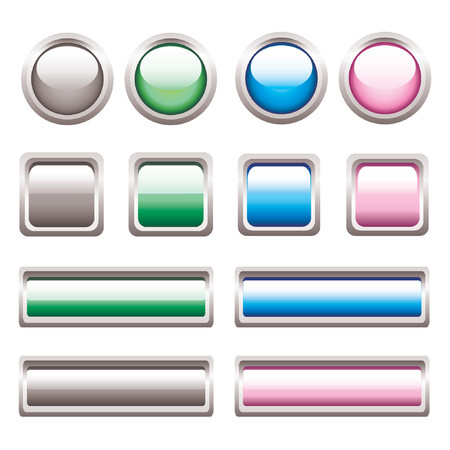 Vector Glossy Buttons. No transparency! Vector