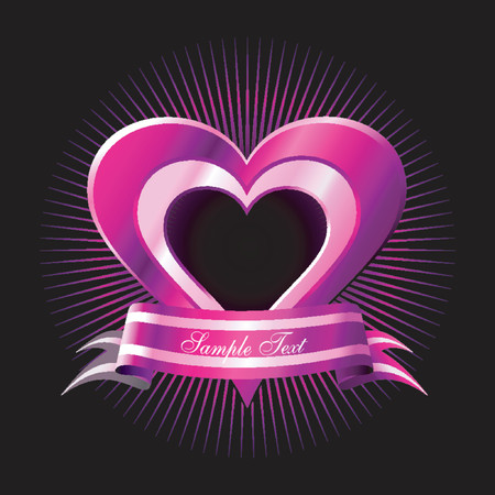 Vector Pink Heart with Banner. No transparency