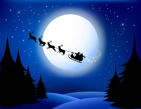 grouped: Santa`s sleigh - vector. All elements are grouped in layers.