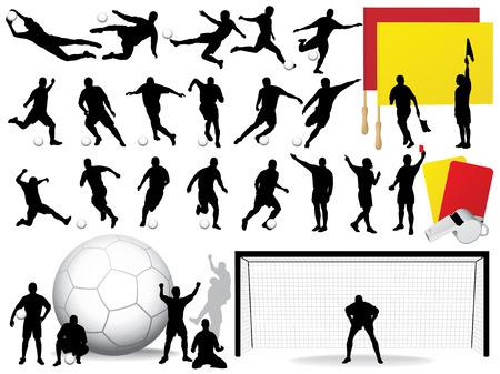 joueurs de foot: Vector footballeurs silhouettes  Illustration