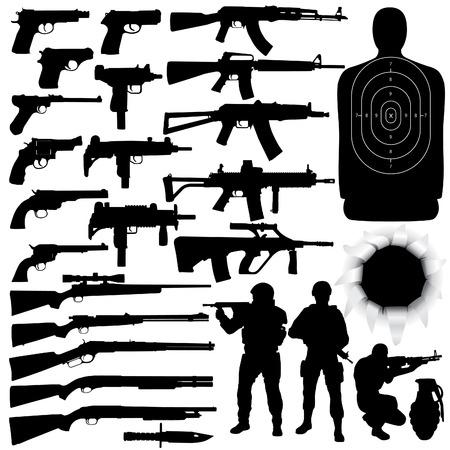 silhouette soldat: Vector silhouettes de diverses armes (Haute d�tail)