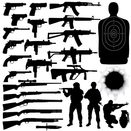handgun: Vector silhouettes of various weapons (High detail)