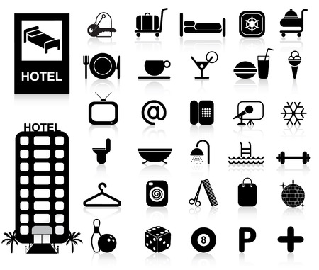 hotels: Hotel Icons set - Vector. Easy change colors. Illustration