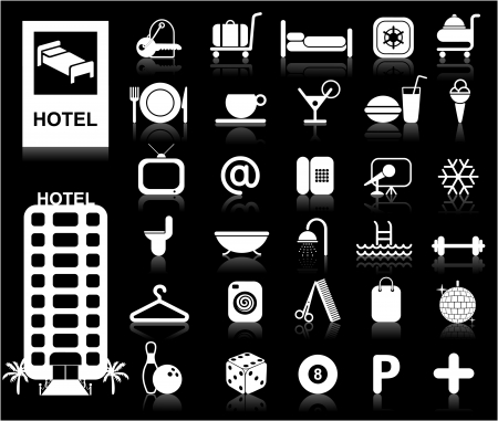 Hotel Icons set - Vector. White series  Easy change colors. Vector