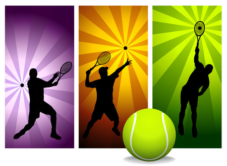 Tennis Players Silhouettes - vector.Easy change colors. (Check out my portfolio for other silhouettes).   Stock Vector - 2526469