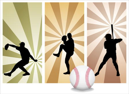 Vector Baseball Players. Easy change colors Illustration