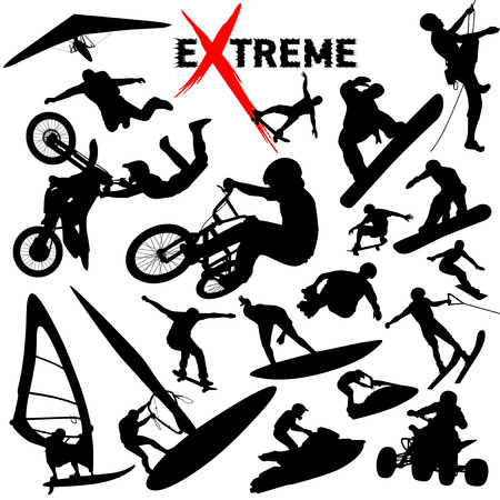 deslizamiento: Vector deportes extremos siluetas  Vectores