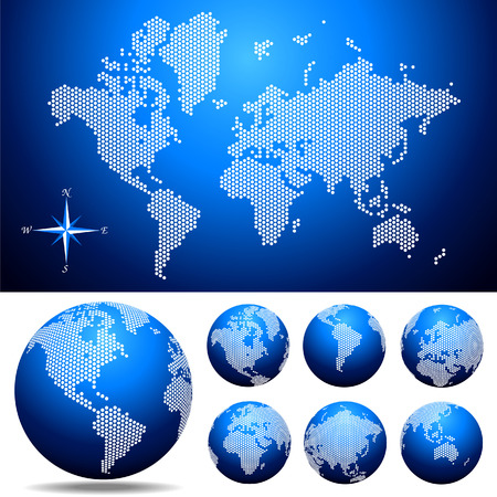 Vector dotted Map and Globe of the World. Easy change colors.