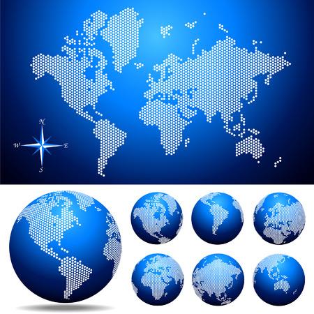 Vector pointillés et Globe carte du monde. Facile changer de couleur.